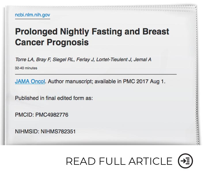 Fasting Has Positive Impacts on Breast Cancer Prognosis