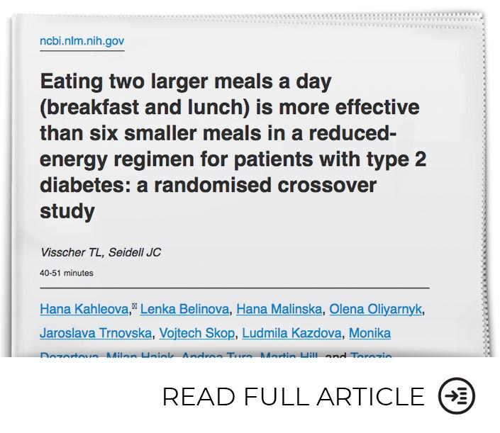 Eating Fewer Meals Reduces Insulin Resistance