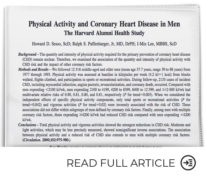 Vigorous Physical Activity Improves Coronary Heart Disease in Men